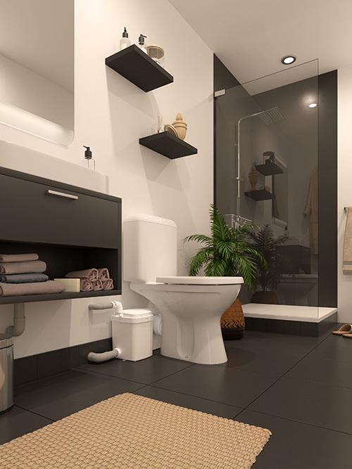 W12Pro permet la création d'une chambre parentale au rez-de-chaussée comme au sous-sol sans entamer de lourds travaux pour récupérer la canalisation d'eau principale.